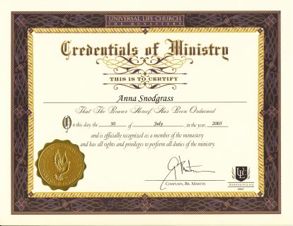 Ministry Certificate Anna