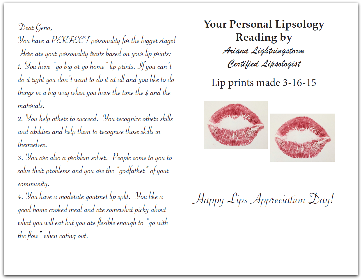 Sample Kissing Card